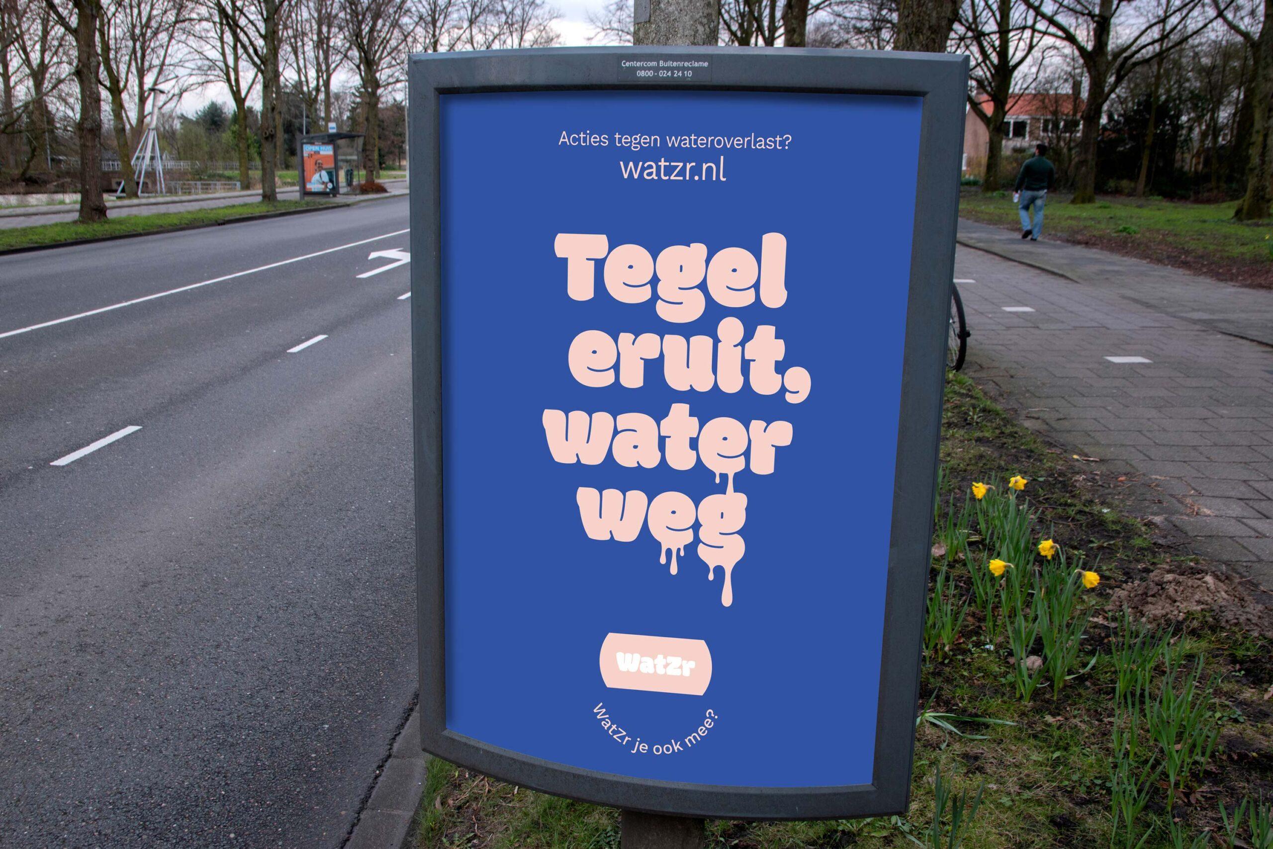 WatZr affiche negatief blauw